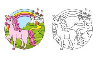 Cute unicorn. Magic fairy horse. Coloring book page for kids. Cartoon style. Vector illustration isolated on white background.