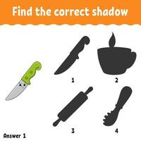 Find the correct shadow. Education developing worksheet. Matching game for kids. Activity page. Puzzle for children. Cartoon character. Isolated vector illustration.