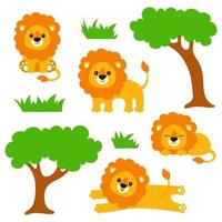 A young lion stands, sits, lies, stretches, sleeps. Wild animal. Cartoon character. Colorful vector illustration. Isolated on white background. Design element. Template for your design, books, stickers, cards.
