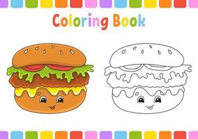 Coloring book for kids. Cartoon character. Vector illustration. Fantasy page for children. Black contour silhouette. Isolated on white background. Barbecue theme.