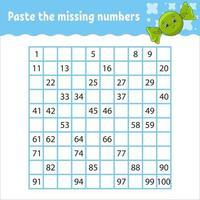 pegue los números que faltan del 1 al 100. práctica de escritura a mano. aprender números para niños. hoja de trabajo de desarrollo educativo. página de actividad. juego para niños. vector