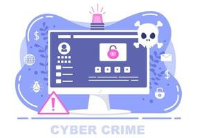 Cyber Crime Illustration Phishing Stealing Digital Data, Device System, Password, and Bank Document From the Computer vector