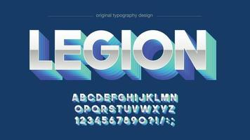 Neon Blue 3D Chrome Sports Typography vector