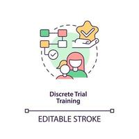 Discrete trial training concept icon. Autistic behavior correction abstract idea thin line illustration. Applied behavioral analysis. Vector isolated outline color drawing. Editable stroke