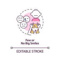 pocos y ningún icono de concepto de grandes sonrisas. signo de autismo en niños idea abstracta ilustración de línea fina. mala expresión facial. jugando con bebé autista. dibujo de color de contorno aislado vectorial. trazo editable vector