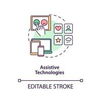 Assistive technologies concept icon. Autistic behavior treatment abstract idea thin line illustration. Increasing social interactions. Vector isolated outline color drawing. Editable stroke