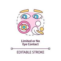 Limited and no eye contact concept icon. Autism sign in kids abstract idea thin line illustration. Avoid gaze at people. Behavioral difference. Vector isolated outline color drawing. Editable stroke