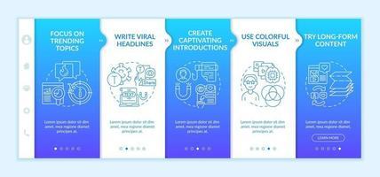 plantilla de vector de incorporación de consejos de creación de contenido populares. sitio web móvil receptivo con iconos. Tutorial de la página web Pantallas de 5 pasos. Presentaciones cautivadoras concepto de color con ilustraciones lineales.