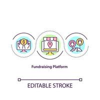 Fundraising platform concept icon. Place to collect investments for future projects. Charity application idea thin line illustration. Vector isolated outline color drawing. Editable stroke