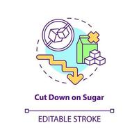 Cut down on sugar concept icon. Decrease amount of sugar during day. Health problems. Not eating sweets abstract idea thin line illustration. Vector isolated outline color drawing. Editable stroke
