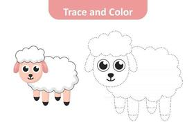 Trace and color for kids, sheep vector