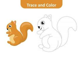 Trace and color for kids, squirrel vector