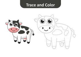 Trace and color for kids, cow vector