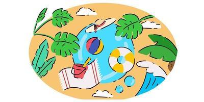 Fresh Creative Summer Themed Doodle Illustration vector