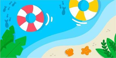 Calm Beach Coast Simple Doodle Illustration vector