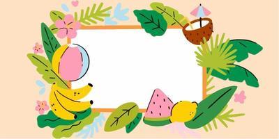 Adorable Tropical Summer Frame Doodle Illustration vector