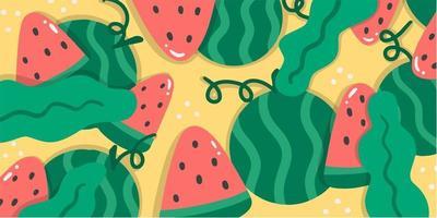 Abstract Unique Random Watermelons Doodle Pattern vector