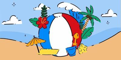 Unique Summer Themed Doodle Illustration vector