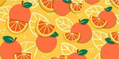 Juicy Fresh Oranges Doodle Pattern vector
