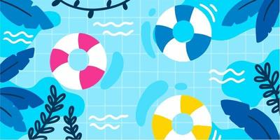 Cold Summer Night Pool Doodle Illustration Exclusive Vector