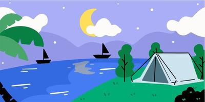 Relaxing Night At Summer Camp Doodle Illustration vector