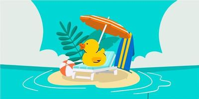 Adorable Cute Summer Themed Doodle Illustration vector