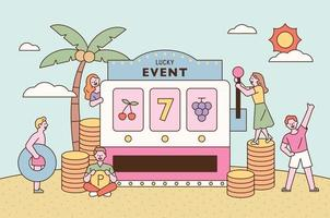 Lucky event promotion poster. People are hoping for good luck around a giant jackpot machine. flat design style minimal vector illustration.