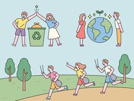 People collecting and high fives for recycling. People standing with the Earth in between. People jogging and picking up trash. flat design style minimal vector illustration.