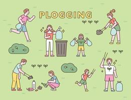 People are picking up trash in the park. flat design style minimal vector illustration.