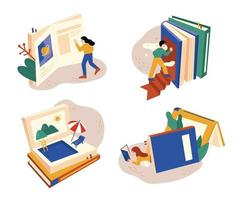 People reading a huge book open. There are many different worlds in the book. flat design style minimal vector illustration.