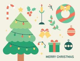 Collection of Christmas objects. flat design style minimal vector illustration.