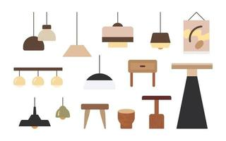 Various styles of lamps and tables for the interior. flat design style minimal vector illustration.