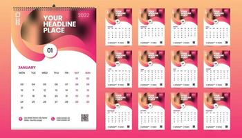 Free wall calendar 2022 template design with vector. Planner diary with Place for Photo. vector