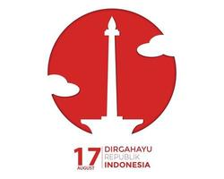 Indonesia Independence Day Simple Greeting Template vector