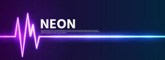 neon background with heart rate lines vector