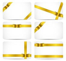 Gift Card Set with Gold Ribbon and Bow. Vector illustration