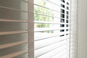 Close up vertical blinds decoration in room photo
