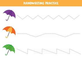 Handwriting practice. Trace lines. Set of colorful umbrellas. vector