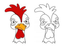 Angry rooster. Coloring book for kids. Displeased poultry. Team mascot. Cartoon style. Colored vector illustration.