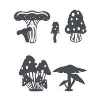 Mushroom set logo vector