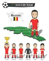 Belgium national soccer cup team . Football player with sports jersey stand on perspective field country map and world map . Set of footballer positions . Cartoon character flat design . Vector .