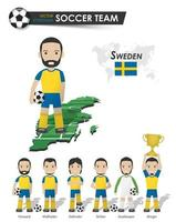 Sweden national soccer cup team . Football player with sports jersey stand on perspective field country map and world map . Set of footballer positions . Cartoon character flat design . Vector .