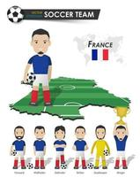 France national soccer cup team . Football player with sports jersey stand on perspective field country map and world map . Set of footballer positions . Cartoon character flat design . Vector .
