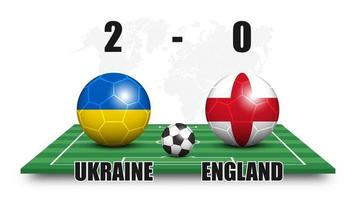 Ukraine vs England . Soccer ball with national flag pattern on perspective football field . Dots world map background . Football match result and scoreboard . Sport cup tournament . 3D vector design .