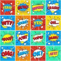 colorido discurso cómico burbujas de patrones sin fisuras con frases omg, pow, bang, oops, wow, sorpresa, hey boom etc. Ilustración de vector de diseño de estilo plano aislado sobre fondo de rayos de color.