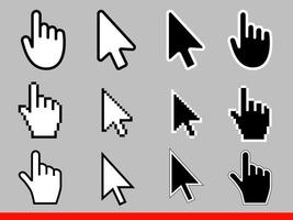 White and black arrow and hand pointer pixel and no pixel cursors icons vector illustration set