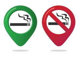 No smoking and smoking area marker map pin icon sign set with flat design gradient styled cigarette in the forbidden red circle. Symbol of the smoking area in the map apps isolated on white background vector