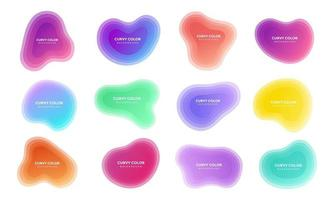 12 Modern liquid abstract blur blob set topographic depth gradient flat style design fluid vector colorful illustration
