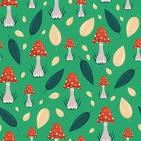 Red toadstools and autumn leaves seamless pattern, vector background in flat style.Cartoon