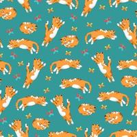 Cats and butterflies seamless pattern in flat style, vector background with animals, cat in different poses pattern